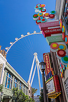 Las Vegas, Nevada.  The Linq Promenade, with High Roller in the Background, the world's tallest observation wheel as of 2015.