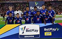 BOGOTA - COLOMBIA, 17-10-2021: Jugadores de Millonarios F. C. posan para una foto, antes de partido de la fecha 14 entre Independiente Santa Fe y Millonarios F. C. por la Liga BetPlay DIMAYOR II 2021 en el estadio Nemesio Camacho El Campin de la ciudad de Bogota. / Players of Millonarios F. C., pose for a photo prior a match of the 14th date between Independiente Santa Fe and Millonarios F. C. for the BetPlay DIMAYOR II 2021 League at the Nemesio Camacho El Campin Stadium in Bogota city. / Photo: VizzorImage / Luis Ramirez / Staff.