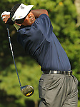 1 September 2008: Vijay Singh hits a tee shot during his final round 63 at the Deutsche Bank Golf Championship in Norton, Massachusetts. Singh won the event.
