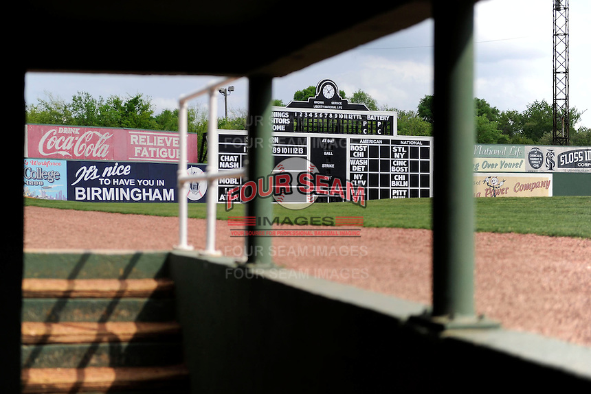 View of the outfield scoreboard from the dugout at Rickwood Field, the oldest surviving professional baseball park in the United States, first opening on August 18, 1910, as home for the Birmingham Barons.  Image taken on April 16, 2013 in Birmingham, Alabama.  (Mike Janes/Four Seam Images)