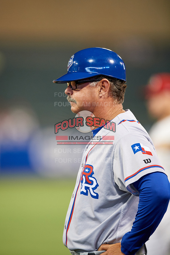 Round Rock Express coach Geno Petralli (12) during a game against the Memphis Redbirds on April 28, 2017 at AutoZone Park in Memphis, Tennessee.  Memphis defeated Round Rock 9-1.  (Mike Janes/Four Seam Images)