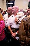 'GAYFEST MANCHESTER, UK', TWO 'BEARS' - HEAVILY BUILT GAY MEN WATCH THE PARADE THROUGH MANCHESTER CITY CENTRE, 1999