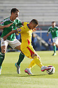 Romania's Gabriel Torje tackles Northern Ireland Jonathan Evans during the UEFA EURO 2016 qualifying Group F soccer match between Northern Ireland and Romania at Windsor Park in Belfast, Northern Ireland, 13 June 2015.  EPA/PauL McErlane