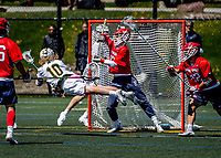 1 May 2021: University of Vermont Catamount Attacker David Closterman, a Junior from Doylestown, PA, dives across the goal-crease to score Vermont's 9th goal (his 15th of the season) in the 3rd quarter against the Stony Brook University Seawolves at Virtue Field in Burlington, Vermont. The Cats edged out the Seawolves 14-13 with less than one second to play in their America East Men's Lacrosse matchup. A former America East Rookie of the Year, Closterman earned a spot on the All-Conference Second Team for the second time in his career. Mandatory Credit: Ed Wolfstein Photo *** RAW (NEF) Image File Available ***