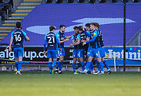 5th April 2021; Liberty Stadium, Swansea, Glamorgan, Wales; English Football League Championship Football, Swansea City versus Preston North End; Preston North End players celebrate after Matt Grimes of Swansea City  scores an own goal in the 90+1 minute to make the score 0-1