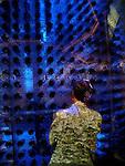 Contemplating a Blue Wall - The Venetian Casino, Las Vegas, Nevada.  Modified photograph by Alan Mahood.
