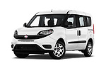 Stock pictures of low aggressive front three quarter view of a 2018 Fiat Doblo Street 5 Door MPV