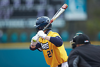 Pres Cavenaugh (29) of the UNCG Spartans at bat against the San Diego State Aztecs at Springs Brooks Stadium on February 16, 2020 in Conway, South Carolina. The Spartans defeated the Aztecs 11-4.  (Brian Westerholt/Four Seam Images)