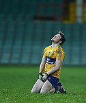 Keelan Sexton of Clare reacts to a missed point chance during the Mc Nulty Cup U-21 final against Limerick at The Gaelic Grounds. Photograph by John Kelly.