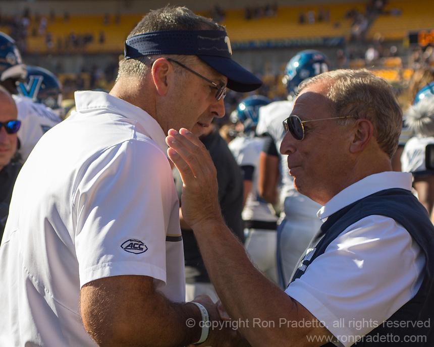 Pitt head coach Pat Narduzzi and Villanova head coach Andy Talley shake hands after the game.The Pitt Panthers defeated the Villanova Wildcats 28-7 at Heinz Field, Pittsburgh, Pennsylvania on September 3, 2016.