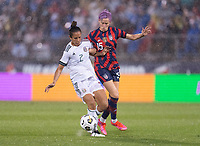 EAST HARTFORD, CT - JULY 1: Bianca Sierra #2 of Mexico defends Megan Rapinoe #15 of the USWNT during a game between Mexico and USWNT at Rentschler Field on July 1, 2021 in East Hartford, Connecticut.