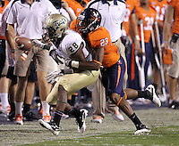 Sept. 3, 2011 - Charlottesville, Virginia - USA; Virginia Cavaliers cornerback Dom Joseph (23) defends William & Mary Tribe wide receiver Ryan Woolfolk (28) during an NCAA football game at Scott Stadium. Virginia won 40-3. (Credit Image: © Andrew Shurtleff
