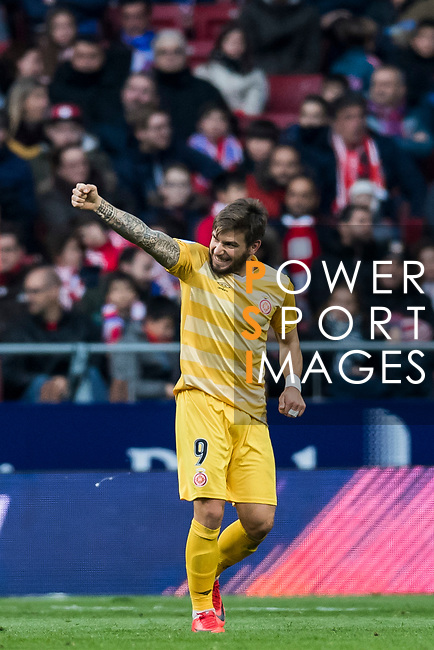 Cristian Portugues Manzanera, Portu, of Girona FC celebrates his goal during the La Liga 2017-18 match between Atletico de Madrid and Girona FC at Wanda Metropolitano on 20 January 2018 in Madrid, Spain. Photo by Diego Gonzalez / Power Sport Images