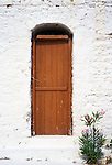 Door, whitewashed wall and oleander, Peloponnese, Greece