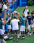 The Explorers celebrate Bob and Mike Bryan's set win at the Freedoms vs. Explorers WTT match in Villanova, PA on July 16, 2012