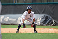 GCL Yankees East shortstop Ricky Surum (20) leads off first base during the second game of a doubleheader against the GCL Blue Jays on July 24, 2017 at the Yankees Minor League Complex in Tampa, Florida.  GCL Yankees East defeated the GCL Blue Jays 7-3.  (Mike Janes/Four Seam Images)