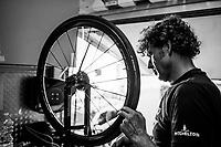 after the stage, back at the Mitchelton-Scott team hotel, the mechanics already prep wheels & bikes for the next stage<br /> <br /> Stage 2: Mouilleron-Saint-Germain > La Roche-sur-Yon (183km)<br /> <br /> Le Grand Départ 2018<br /> 105th Tour de France 2018<br /> ©kramon