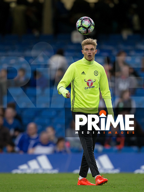 Charlie Wakefield of Chelsea warms up during the EPL2 - U23 - Premier League 2 match between Chelsea and Arsenal at Stamford Bridge, London, England on 23 September 2016. Photo by Andy Rowland.