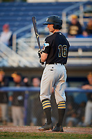 West Virginia Black Bears center fielder Chris Sharpe (16) at bat during a game against the Batavia Muckdogs on August 7, 2017 at Dwyer Stadium in Batavia, New York.  West Virginia defeated Batavia 6-3.  (Mike Janes/Four Seam Images)