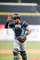 Montgomery Biscuits catcher Rene Pinto (11) heads to his position during the game against the Tennessee Smokies on May 9, 2021, at Smokies Stadium in Kodak, Tennessee. (Danny Parker/Four Seam Images)