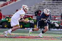College Park, MD - February 15, 2020: Penn Quakers Kyle Gallagher (49) wins the faceoff during the game between Penn and Maryland at  Capital One Field at Maryland Stadium in College Park, MD.  (Photo by Elliott Brown/Media Images International)