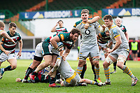 20th February 2021; Welford Road Stadium, Leicester, Midlands, England; Premiership Rugby, Leicester Tigers versus Wasps; Julian Montoya of Leicester Tigers tackled by Tom West of Wasps