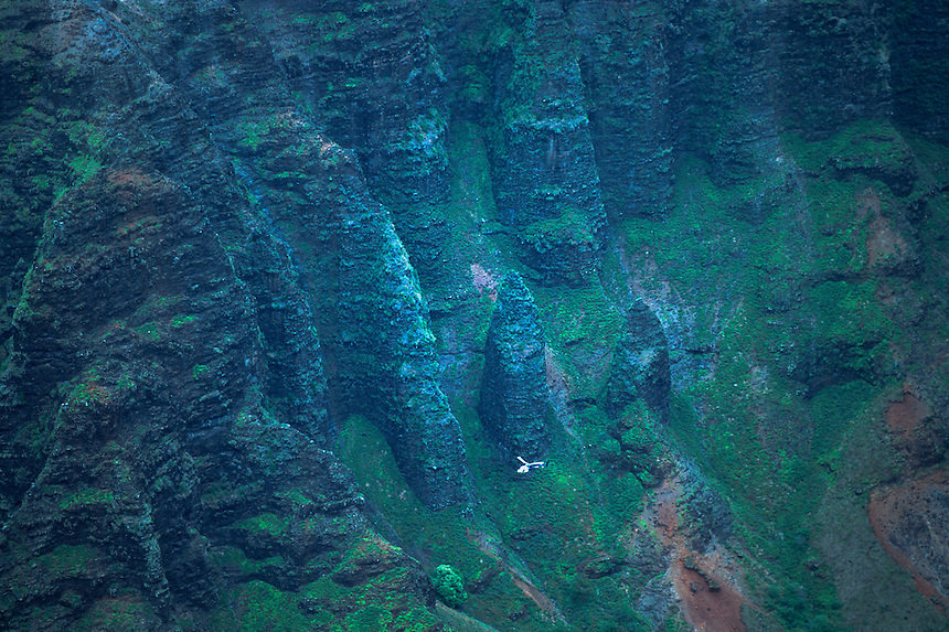 Na Pali Cliffs and Helicopter from Awa'awapui Trail, Kauai, Hawaii, US