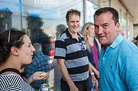 Lancement de campagne à St-Constant du candidat pq pour  sanguinet : <br /> Alain Therrien<br /> <br /> Porte-parole de l'opposition officielle en matière d'économie, responsable d'équipe Priorité PME-entrepreneuriat, allègement réglementaire, Revenu-Québec, Caisse de dépôt et placement du Québec, Réseau électrique métropolitain (REM) et industrie du taxi et député responsable de Laval.  , aout 2018<br /> <br /> PHOTO : Agence Quebec Presse