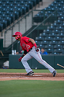 AZL Angels third baseman Bernabe Camargo (64) starts down the first base line during an Arizona League game against the AZL Indians 2 at Tempe Diablo Stadium on June 30, 2018 in Tempe, Arizona. The AZL Indians 2 defeated the AZL Angels by a score of 13-8. (Zachary Lucy/Four Seam Images)