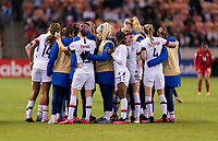 HOUSTON, TX - JANUARY 31: The USWNT huddles at midfield during a game between Panama and USWNT at BBVA Stadium on January 31, 2020 in Houston, Texas.