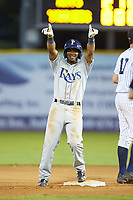 Wander Franco (6) of the Princeton Rays celebrates after hitting a double to complete the cycle during the game against the Pulaski Yankees at Calfee Park on July 14, 2018 in Pulaski, Virginia. The Rays defeated the Yankees 13-1.  (Brian Westerholt/Four Seam Images)
