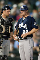 New Orleans Zephyrs pitcher Tom Koehler #22 talks to his catcher during the Pacific Coast League baseball game against the Round Rock Express on April 30, 2012 at The Dell Diamond in Round Rock, Texas. The Zephyrs defeated the Express 5-3. (Andrew Woolley / Four Seam Images).