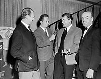 L'acteur français Jean Marais, dans les locaux de la station de radio CHRC a Quebec<br /> le 13 novembre 1965<br /> <br /> <br /> Photo : Photo Moderne -  © Agence Quebec Presse