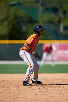 Baltimore Orioles D'Arby Myers (67) leads off second base during a minor league Spring Training game against the Boston Red Sox on March 16, 2017 at the Buck O'Neil Baseball Complex in Sarasota, Florida.  (Mike Janes/Four Seam Images)