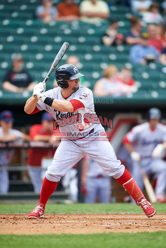 Reading Fightin Phils designated hitter Jake Fox (34) during a game against the New Hampshire Fisher Cats on May 30, 2016 at Northeast Delta Dental Stadium in Manchester, New Hampshire.  New Hampshire defeated Reading 9-1.  (Mike Janes/Four Seam Images)