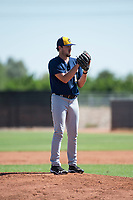 Milwaukee Brewers relief pitcher Wade Beasley (16) gets ready to deliver a pitch during an Instructional League game against the San Diego Padres at Peoria Sports Complex on September 21, 2018 in Peoria, Arizona. (Zachary Lucy/Four Seam Images)