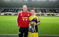 Thursday, 16 April 2014<br /> Pictured L-R: Cameron Toshack manager with team captain Josh Sheehan. <br /> Re: FAW Youth Cup Final, Swansea City FC v The New Saints FC at the Liberty Stadium, south Wales,