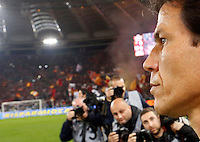 Calcio, Serie A: Roma vs ChievoVerona. Roma, stadio Olimpico, 31 ottobre 2013.<br /> AS Roma coach Rudi Garcia, of France, looks on prior to the start of the Italian Serie A football match between AS Roma and ChievoVerona at Rome's Olympic stadium, 31 October 2013.<br /> UPDATE IMAGES PRESS/Riccardo De Luca