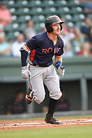 Catcher Brett Cumberland (28) of the Rome Braves runs toward first in a game against the Greenville Drive on Wednesday, May 31, 2017, at Fluor Field at the West End in Greenville, South Carolina. Greenville won, 7-1. (Tom Priddy/Four Seam Images)