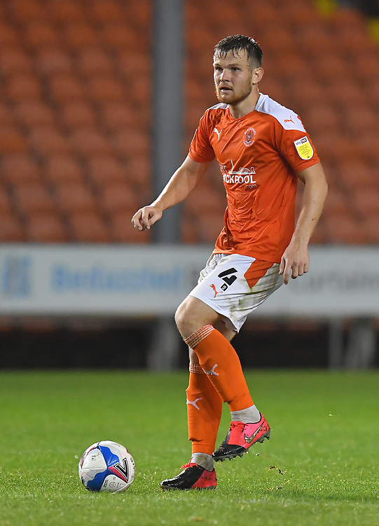 Blackpool's Jordan Thorniley<br /> <br /> Photographer Dave Howarth/CameraSport<br /> <br /> EFL Trophy Northern Section Group G - Blackpool v Barrow - Tuesday 8th September 2020 - Bloomfield Road - Blackpool<br />  <br /> World Copyright © 2020 CameraSport. All rights reserved. 43 Linden Ave. Countesthorpe. Leicester. England. LE8 5PG - Tel: +44 (0) 116 277 4147 - admin@camerasport.com - www.camerasport.com