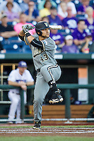 Vanderbilt Commodores first baseman Zander Wiel (43) at bat during the NCAA College baseball World Series against the TCU Horned Frogs on June 16, 2015 at TD Ameritrade Park in Omaha, Nebraska. Vanderbilt defeated TCU 1-0. (Andrew Woolley/Four Seam Images)