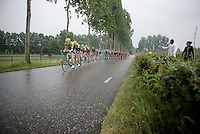 Team LottoNL-Jumbo leading the peloton in the pouring rain<br /> <br /> stage 5: Eindhoven - Boxtel (183km)<br /> 29th Ster ZLM Tour 2015