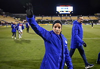 COLUMBUS, OH - NOVEMBER 07: Mallory Pugh #2 of the United States waves to the USA fans during a game between Sweden and USWNT at MAPFRE Stadium on November 07, 2019 in Columbus, Ohio.