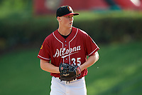 Altoona Curve starting pitcher Mitch Keller (35) gets ready to deliver a pitch during a game against the Richmond Flying Squirrels on May 15, 2018 at Peoples Natural Gas Field in Altoona, Pennsylvania.  Altoona defeated Richmond 5-1.  (Mike Janes/Four Seam Images)