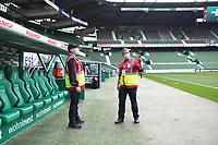 18th May 2020, WESERSTADION, Bremen, Germany; Bundesliga football, Werder Bremen versus Bayer Leverkusen;   Stewards with protective masks in conversation