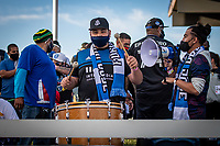 SAN JOSE, CA - MAY 15: San Jose Earthquakes fan during a game between San Jose Earthquakes and Portland Timbers at PayPal Park on May 15, 2021 in San Jose, California.