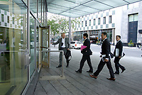 September 11, 2012 - Montreal (Quebec) CANADA - CRTC hearing on Astral acquisition by Bell Canada - <br /> Pierre-Karl Peladeau, President and CEO, Quebecor Media Inc (with red folder) and team  arrival  into Montreal's Palais des Congres.