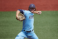 Old Dominion Monarchs relief pitcher Joey DeChiaro (20) in action against the Charlotte 49ers at Hayes Stadium on April 25, 2021 in Charlotte, North Carolina. (Brian Westerholt/Four Seam Images)