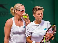 London, England, 8 July, 2019, Tennis,  Wimbledon, women's doubles Demi Schuurs (NED) and Anna-Lena Groenefeld (GER) (L)<br /> Photo: Henk Koster/tennisimages.com