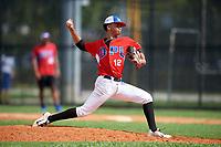 Jeremia Minaya (12) during the Dominican Prospect League Elite Florida Event at Pompano Beach Baseball Park on October 14, 2019 in Pompano beach, Florida.  Jeremia Minaya (12).  (Mike Janes/Four Seam Images)
